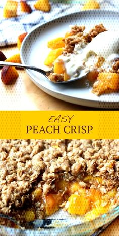 Easy Peach CrispYou can find Easy peach dessert recipes and more on our website. Fall Desserts, Dessert Recipes, Fruit Dessert, Easy Peach Crisp, Pumpkin Squares, Streusel Topping, Summer Fruit, Pumpkin Spice, Website