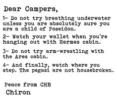 Letter to Camp Half-Blood campers