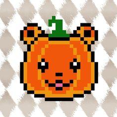 HALLOWEEN PYSSLA schema orsetto mannaro travestito da zucca pucciosa! KAWAII pixel art perler beads PATTERN teddy bear pumpkin *** TUTORIAL: https://youtu.be/kvNHRWaMmPE