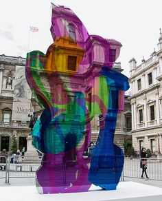 Jeff Koons' transparent sculpture at The Royal Academy of the Arts, London