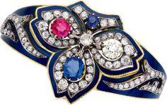 Victorian Diamond, Sapphire, Ruby, Enamel, Gold Bracelet. ...