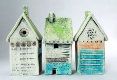 tiny dwellings hand built porcelain by Shirley Vauvelle