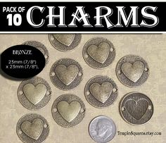 Bronze Heart Connector Charms - Wholesale Prices. Pack of 10 Charms diy Jewelry Findings for Necklaces, Bracelets LDS Craft Supplies by templesquares on Etsy