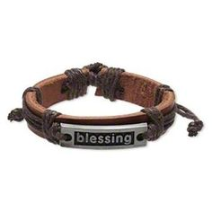 Handmade Brown Blessing Affirmation Leather Silver Pewter Adjustable Bracelet