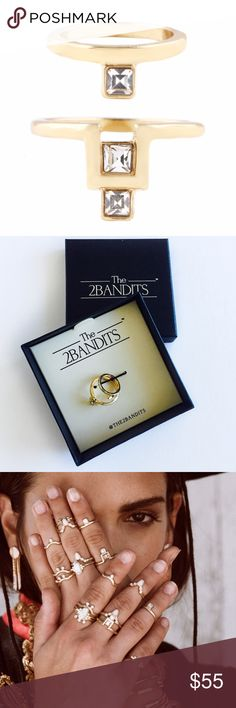 The2bandits Gold Taos Ring Set The Taos ring set by The2bandits is beautifully accented with white crystals. 14k gold plated brass. Ring size 7 / midi ring size: 2 approx. The2bandits Jewelry Rings