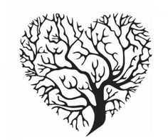 BFY 57*53cm Black Creative Heart-shaped Tree Branches DIY Wall Home Decals Stickers