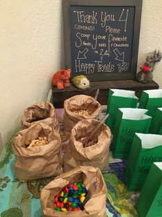 woodland creature baby shower close up of trail mix bar