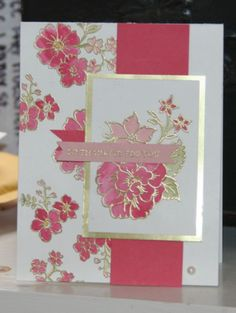 beautiful handmade card in white and deep pinks with gold accents ... luv the look of coloring inside the gold embossed lines of stamped flowers ... Stampin' Up!