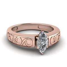 Filigree #Ring features a prong set round cut #diamond which is beautifully accentuated by carved filigree designed band.  http://www.jangmijewelry.com/