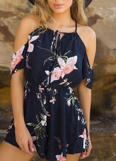 Lace-up Square-neck Random Floral Print Playsuit in Navy Cute Casual Outfits, Cute Summer Outfits, Outfits For Teens, Spring Outfits, Stylish Outfits, Mode Outfits, Girl Outfits, Fashion Outfits, Navy Outfits