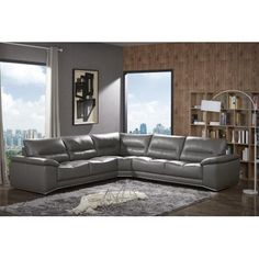 J Cagliari Contemporary Premium Grey Italian Leather Sectional Sofa Modern #leathersectionalsofas