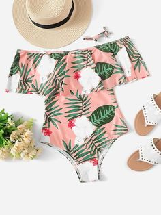 Shop Tropical Print Ruffle Trim One Piece Swimsuit online. SheIn offers Tropical… Shop Tropical Print Ruffle Trim One Piece Swimsuit online. SheIn offers Tropical Print Ruffle Trim One Piece Swimsuit & more to fit your fashionable needs. One Piece Swimsuit For Teens, One Piece Swimsuit Flattering, Swimsuits For Big Bust, One Piece Swimsuit Slimming, Swimsuits For Teens, Modest Swimsuits, Cute Swimsuits, One Piece Swimwear, Summer Bathing Suits