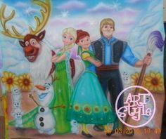 Painel Frozen/Frozen Fever Pintado Unico,/painel para festa infantil/decoraçao de festa infantil/artesanato