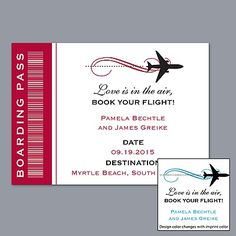 Boarding Pass - Save The Date Magnet (it would be adorable for destination weddings)