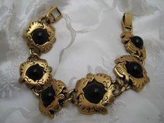 e7874aaee34a4a Unusual Find Vintage Brass Colour Metal & Black Bead FISH Design  Bracelet #Unbranded Fish