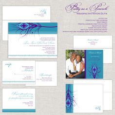 Pretty as a Peacock Wedding Invitation Suite in Teal Turquoise & Purple  paperimpressions.etsy.com