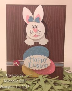 """Meet """"Delila"""" a new punch art critter by Michelle Suit - Stampin' Up… Paper Punch Art, Punch Art Cards, Shaped Cards, Easter Activities, Scrapbook Cards, Scrapbooking, Easter Crafts, Easter Ideas, Kids Cards"""