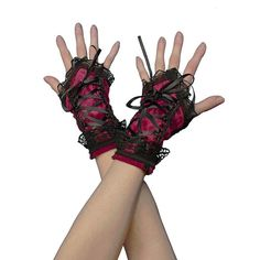 burgundy fingerless gloves, wrist warmers gothic , burlesque - vintage... ($21) ❤ liked on Polyvore