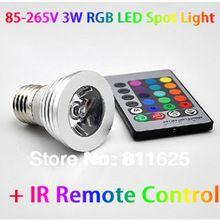 85-265 V 3 W E27 RGB Bombilla LED Lámpara del proyector + 1X con Control Remoto IR