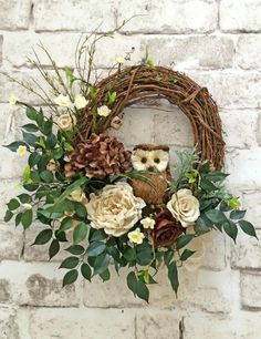 Burlap and Twig Owl Wreath, Ivory and Brown Neutral Wreath, Front Door Wreath, Grapevine Wreath, Silk Floral Wreath, Outdoor Wreath, Door Decor, Do…