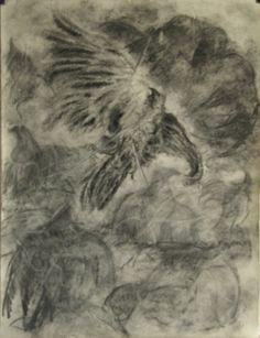 Kraaienportret, Stephanus houtskool op papier, 70 x 50