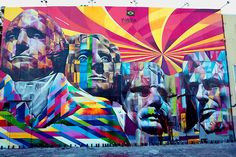 Eduardo Kobra's trademark style. This mural by the Brazilian street artist was done recently in honour of America's Independence Day and is located in LA. Kobra says: 'My intention is to provoke and delight, with bright colors, showing once again that art and democracy, remain fundamental to art and life as a whole'.