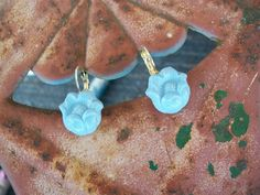 vintage button jewelry earrings powder blue by Suddendeersighting, $16.00