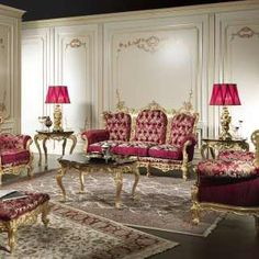 Luxury classic living Room Barocco with carvings and gildings made by hand | Vimercati Classic Furniture
