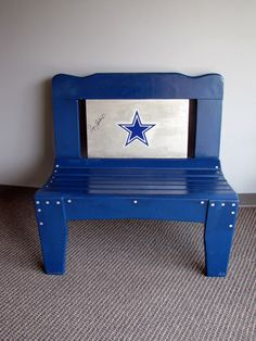 Dallas Cowboys bench signed by Roger Staubach donated by Kristina and Phil Whitcomb for Dallas CASA