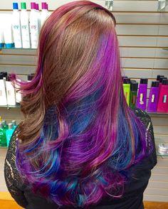 """""""Hidden galaxy rainbow hair  #modernsalon #americansalon #behindthechair…"""