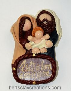 A Child is Born Ornament by BertsClayCreations on Etsy, $10.00