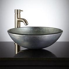 Silver Glass Vessel Sink