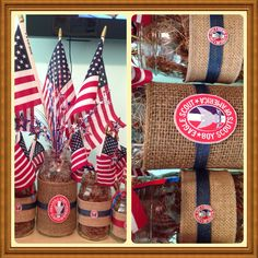 Patriotic burlap mason jars Eagle court of honor centerpieces. Jars filled with natural moss. Burlap ribbon Hobby Lobby.