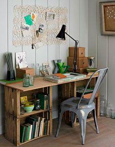 Ideas con cajas de madera. Decoración con huacales de madera.