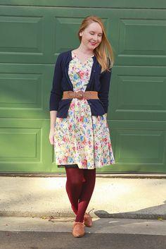 Day 21 Me Made May - Simplicity Floral Dress {via Jennifer Lauren Vintage} Blue Cardigan, Floral, Vintage, Dresses, Style, Fashion, Vestidos, Swag, Moda