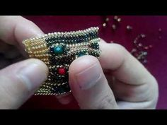 Jewelry Making Beading Tutorials and Patterns - Beaded Ring - Peyote Stitch - Odd Count - Simple Bead Patterns - Neptunia Ring Beaded Bracelet Patterns, Beading Patterns, Beaded Earrings, Earrings Handmade, Handmade Jewelry, Beaded Bracelets, Gold Earrings, Leaf Earrings, Color Patterns