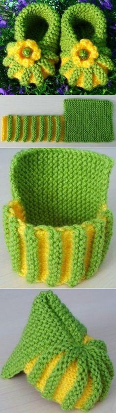 knitting ideas: very very simple ankle boots! / Knit a knitting needle . : knitting ideas: very very simple ankle boots! / Knit a knitting needle … Crochet Baby Mittens, Crochet Baby Shoes, Crochet Slippers, Knitted Baby, Pull Crochet, Crochet Diy, Simple Crochet, Tunisian Crochet, Crochet Mandala