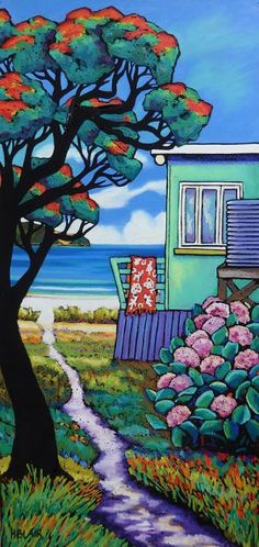 Laid Back Summer Landscape painting. New Zealand Bach at Beach New Zealand Art, Jr Art, Art Folder, Les Cascades, Maori Art, Kiwiana, Landscape Artwork, Art For Art Sake, Aboriginal Art