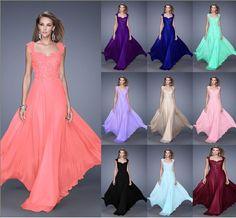 Neu Lang Applikation Abendkleider Cocktailkleid Ballkleider Party Kleid Gr:32-44…