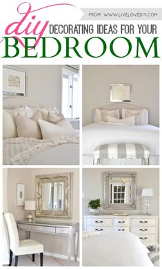 DIY Decorating Ideas for Your Bedroom. So many great ideas in this post!
