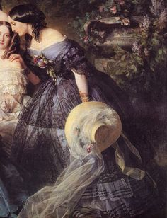 The Empress Eugenie surrounded by her ladies in waiting (Détail) Franz Xaver Winterhalter 1855 | La marquise de Latour-Maubourg