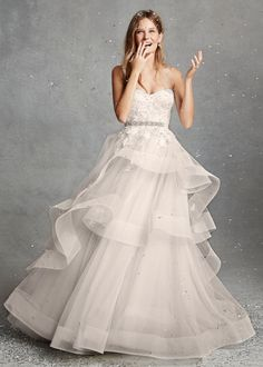Bliss by Monique Lhuillier embellished, tiered wedding dress