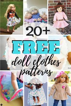Great list of sewing patterns for the best free doll clothes patterns for dolls of all shapes and sizes. Doll Patterns Free, Doll Dress Patterns, Sewing Patterns For Kids, Clothing Patterns, Baby Clothes Patterns, Knitting Patterns, American Girl Outfits, American Doll Clothes, American Girls