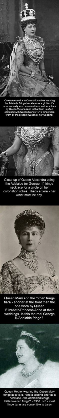 That last comment should read that most fringe tiaras are convertible to *necklaces*.  Also according to the Royal Collections Trust website (part of the Royal Household) this tiara worn here by Mary is indeed the Queen Adelaide tiara.