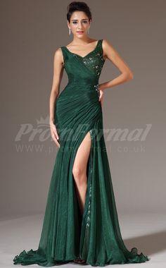 Straps Trumpet/Mermaid Prom Dresses:Long Chiffon , Lace Dark Green Prom Dress PRJT04-1336