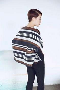 Designer Kimono Jacket for Women Navy Brown Stripes Round Asymmetrical Hem Boxy Silhouette Relaxed Fit