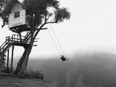 'the swing at the end of the world' with no safety measures, just simply a swing on the edge of a cliff in Ecuador.