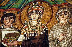 Teodora y su séquito (detalle) Mosaico de San Vitale de Ravena  Italia