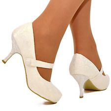 Ladies Womens White Ivory Lace Wedding Bridal Shoes Mary Jane Low Mid Heels Size
