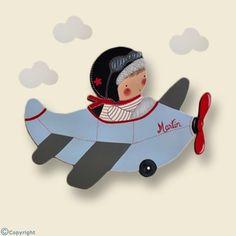 Silueta de madera personalizada: Niño aviador (ref. 12095-02)